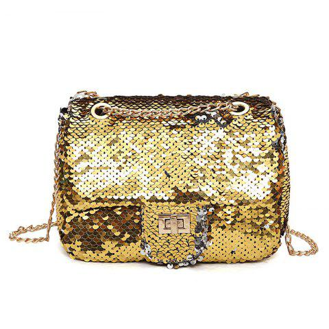 Online Chain Glitter Crossbody Bag - GOLDEN  Mobile