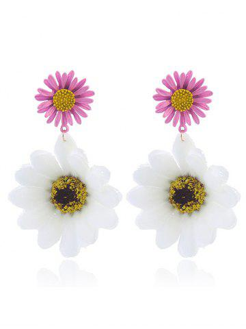 Discount Sunflower Embellished Earrings - WHITE  Mobile