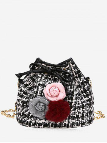 Shops Plaid Flower Pom Pom Drawstring Crossbody Bag - BLACK  Mobile