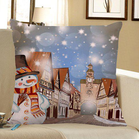Online Christmas Snowman Town Printed Pillow Case COLORFUL W18 INCH * L18 INCH
