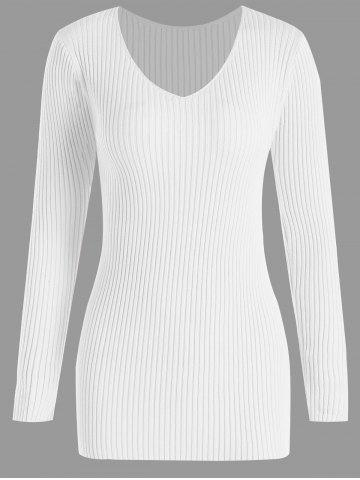 Affordable Plus Size Ribbed V Neck Sweater - 3XL WHITE Mobile