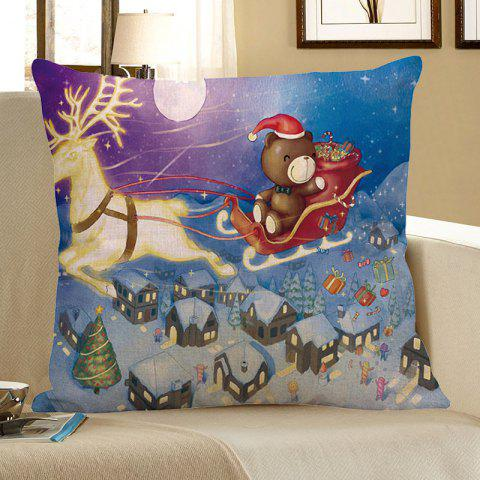Sale Christmas Reindeer Cart Snow Town Patterned Pillow Case COLORFUL W18 INCH * L18 INCH