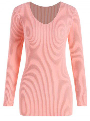 Shop Plus Size Ribbed V Neck Sweater - 4XL PINK Mobile