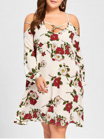 Outfits Plus Size Criss Cross Cold Shoulder Floral Dress - XL WHITE Mobile