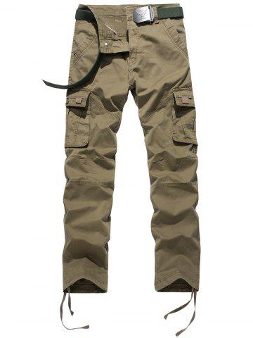 Shops Drawstring Feet Zipper Fly Pockets Cargo Pants KHAKI 32