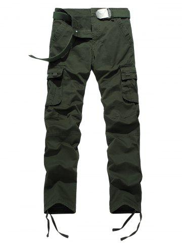 Trendy Drawstring Feet Zipper Fly Pockets Cargo Pants - 34 ARMY GREEN Mobile