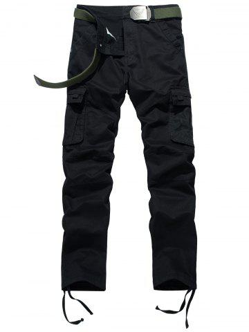 Chic Drawstring Feet Zipper Fly Pockets Cargo Pants BLACK 34