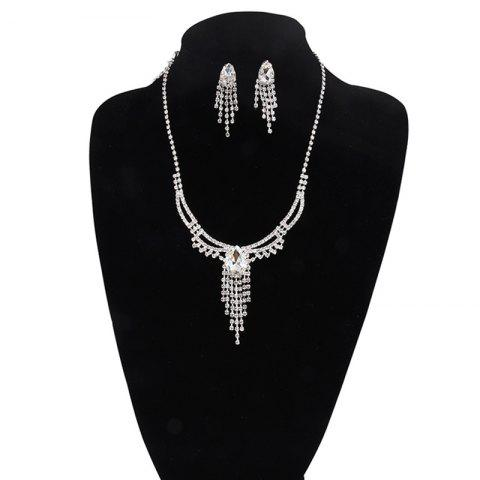 Online Rhinestone Fringed Teardrop Jewelry Set SILVER