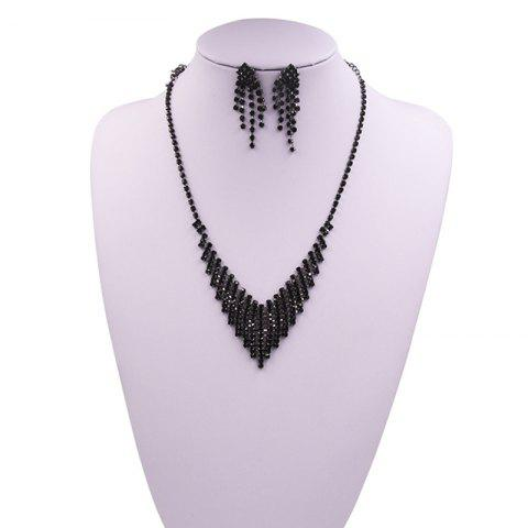 Store Rhinestoned Fringed Necklace and Earring Set - BLACK  Mobile
