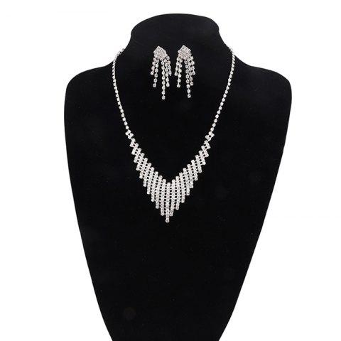 Fashion Rhinestoned Fringed Necklace and Earring Set