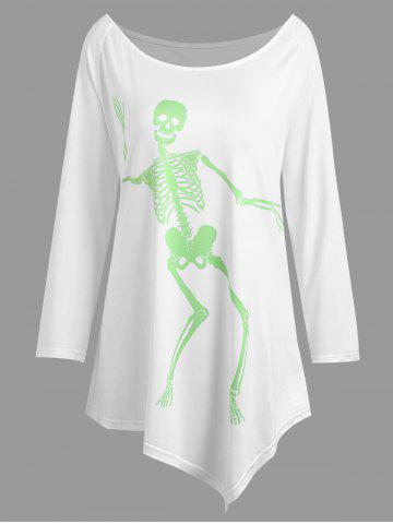 Shop Plus Size Asymmetrical Halloween Skeleton Tee WHITE XL