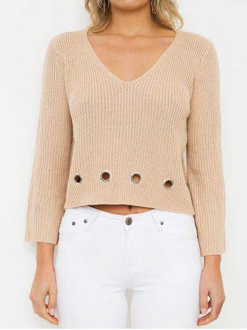 Discount V Neck Boxy Crop Sweater