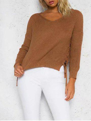 Fancy Lace Up Jumper Sweater - ONE SIZE DEEP BROWN Mobile
