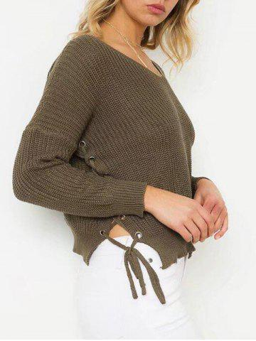 Outfit Lace Up Jumper Sweater - ONE SIZE OLIVE GREEN Mobile