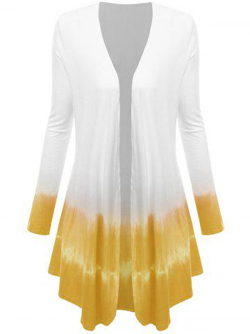 Cheap Plus Size Open Front Ombre Duster Coat YELLOW XL