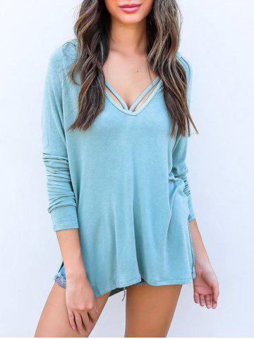 New Plunge Side Slit Tunic Hoodie CLOUDY S