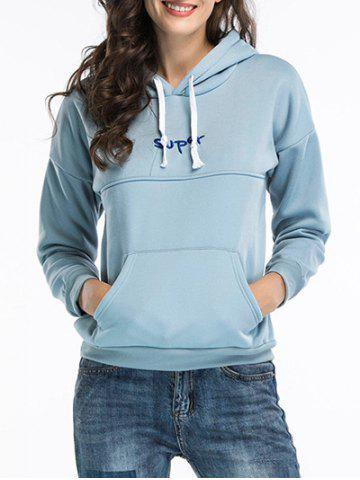 Latest Embroidered Pullover Hoodie BLUE M