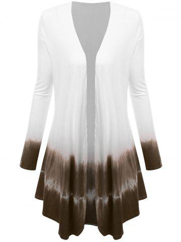 Fashion Plus Size Open Front Ombre Duster Coat - XL TAUPE Mobile