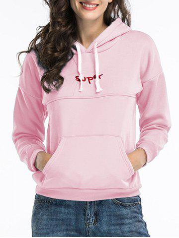 Sale Embroidered Pullover Hoodie - 2XL PINK Mobile