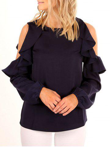 Chic Cold Shoulder Flounce Ruffled Blouse - S BLACK Mobile