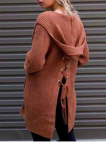 Sale Back Lace-up Hooded Cardigan - ONE SIZE BRICK-RED Mobile