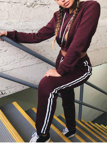 Trendy Cropped Hoodie with Jogger Pants WINE RED XL