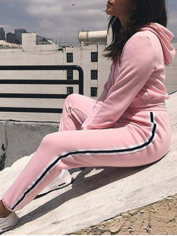 Hot Cropped Hoodie with Jogger Pants PINK XL