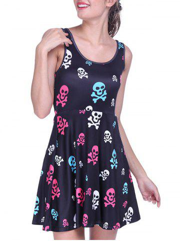Trendy Halloween Skulls Print Short Dress