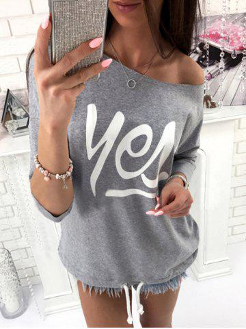 Affordable Yes T Shirt GRAY XL
