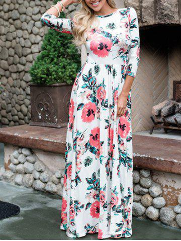 Latest Floral Maxi Prom Dress WHITE M
