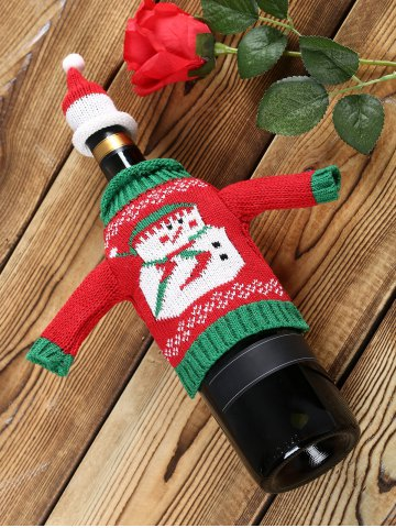 Trendy Christmas Snowman Sweater Wine Bottle Cover - 1 SET RED Mobile