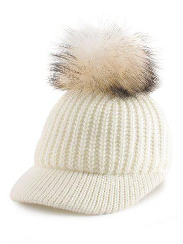 Outfits Outdoor Pom Ball Embellished Knit Baseball Hat OFF-WHITE
