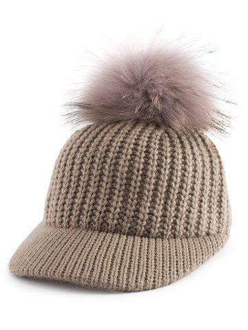 Unique Outdoor Pom Ball Embellished Knit Baseball Hat - KHAKI  Mobile
