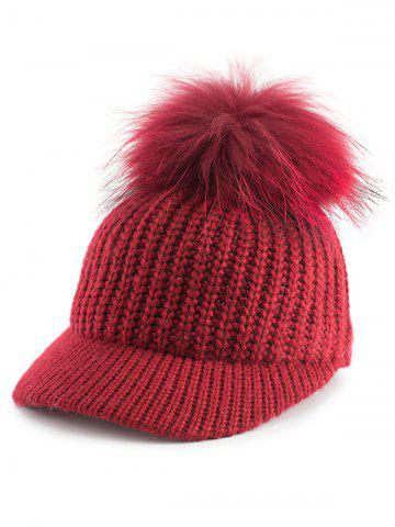 Outfit Outdoor Pom Ball Embellished Knit Baseball Hat