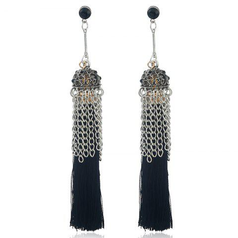 Outfit Tiny Rhinestone Alloy Chain Design Tassel Earrings
