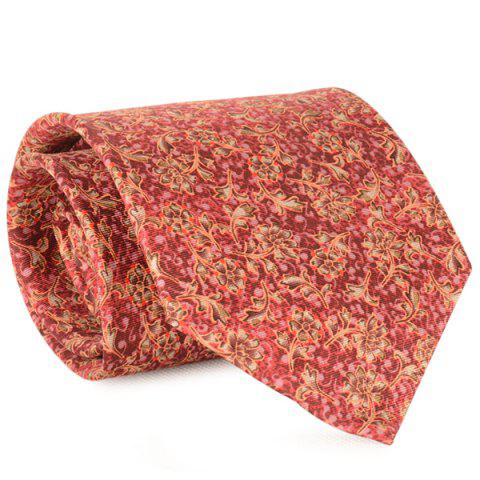 Store Floral and Vine Print 9CM Width Tie - RED  Mobile