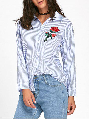 Store Striped High Low Embroidered Shirt - S BLUE Mobile