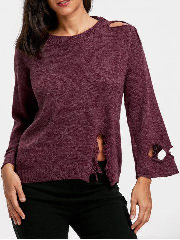 Cheap Drop Shoulder Distressed Jumper Sweater PURPLISH RED ONE SIZE