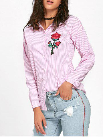 Sale Striped High Low Embroidered Shirt - S PINK Mobile