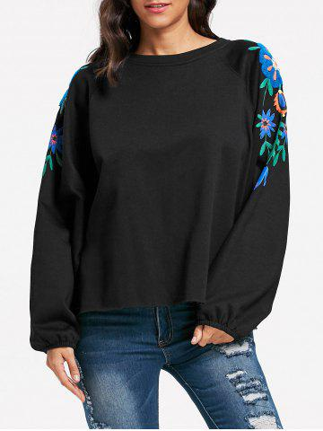 Shops Floral Embroidery Batwing Sleeve Sweatshirt - L BLACK Mobile