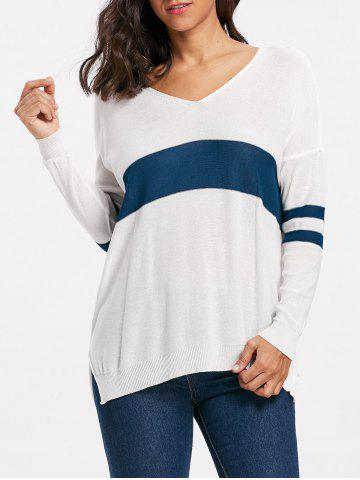 Hot Striped Long Sleeve Asymmetric Sweater