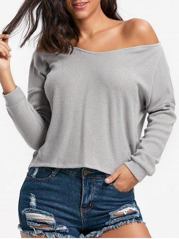 Hot Skew Neck High Low Pullover Sweater - XL GRAY Mobile