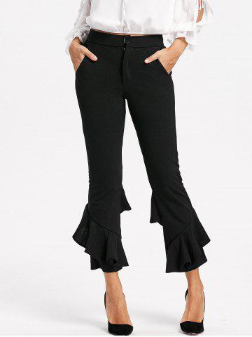 Shop Cropped Layered Flare Pants - XL BLACK Mobile