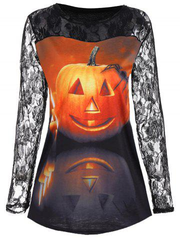 Discount Floral Lace Yoke Halloween Pumpkin Tee COLORMIX S