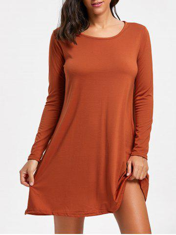 Cheap Long Sleeve Mini Swing Babydoll Tee Dress - M BRICK-RED Mobile