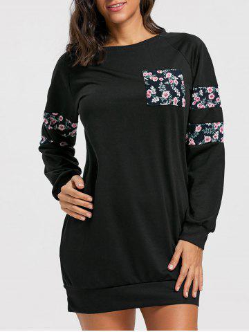 Best Crew Neck Floral Mini Sweatshirt Dress BLACK XL