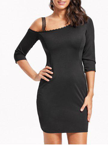 Hot Skew Neck Lace Trim Mini Bodycon Dress BLACK M