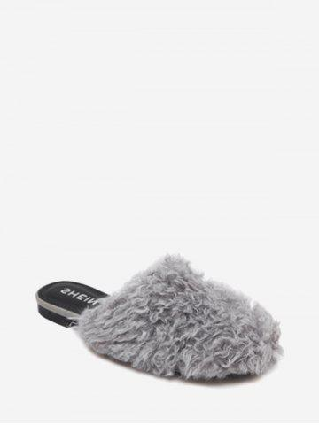 Outfit Flat Heel Furry Slippers - 35 GRAY Mobile