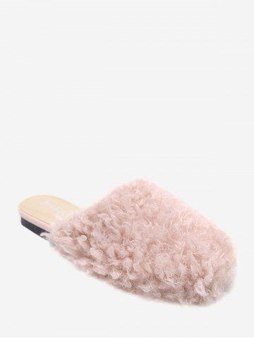 Cheap Flat Heel Furry Slippers - 40 PINK Mobile