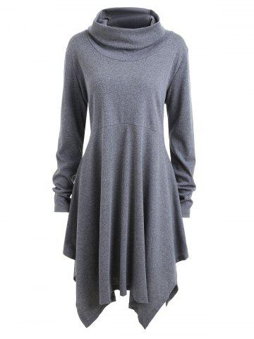 Chic Plus Size Long Sleeve Funnel Neck Swing Dress - 2XL GRAY Mobile